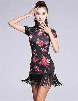 Mujer latina de baile vestido de flecos / vestido de flores / baile de disfraces a