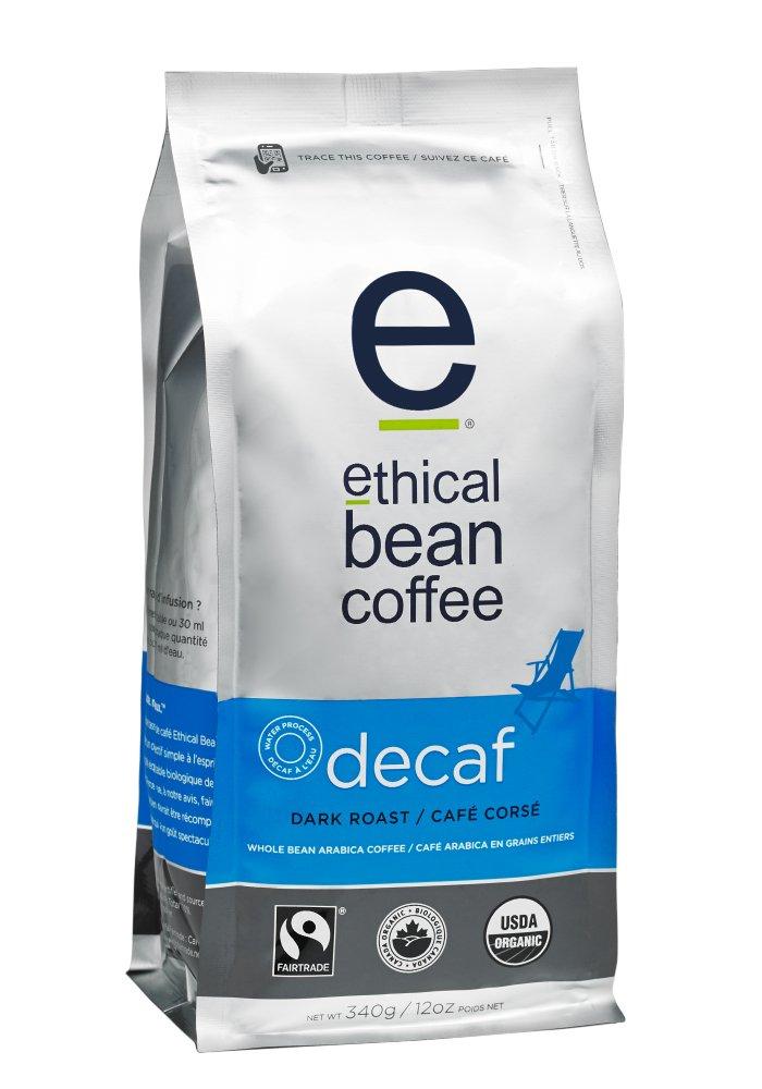 Ethical Bean Coffee Decaf, Dark Roast, Whole Bean, 12-Ounce Bag