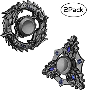 Fidgets Toys Set Figit Spinners Legend Dragon Metal Fidget Hand Spinner Party Favors Spiral Twister Finger Fingertip Gyro Stress Relief Cube Fun ADHD EDC Toy Xmas Gifts for Kids Adults(2 Pack)