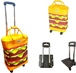 Shopping Trolley - Reusable Insulated Shopping Bag with wheels for Groceries & Food Delivery, Eco Friendly. Good for BBQ/Outdoors/Party/Picnic/Shopping/Supermarket. (Cheeseburger)