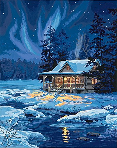 Dimensions Needlecrafts PaintWorks Paint By Number Kit, Moonlit Cabin (Numbers By Paint Paintworks)