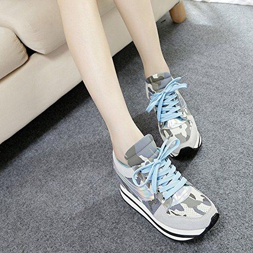 Btrada Womens Wedge Augmenté Sneakers Lacets Épais Plate-forme Camouflage Sport Marche Chaussures De Plein Air Bleu