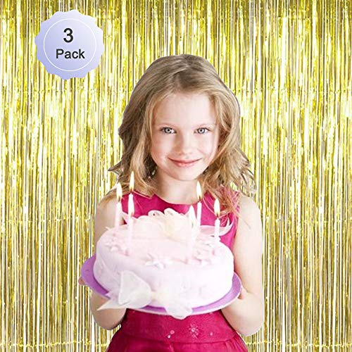 - Foil Fringe Curtain Metallic Tinsel Gold Fringe Curtains Photo Booth Backdrop Door Long Curtain Panel Decorations Birthday Wedding Window Decor Bling Tassel Party Supplies Golden 3 Pack 3.3ft 6.6ft