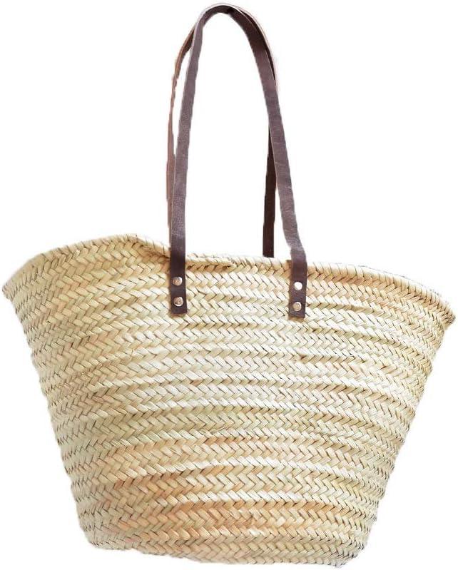 Birdikus Capazo de Palma básico, Cesta de Fibras Naturales, con Asas Larga de Cuero curtido Estilo rústico. Cesto o Bolso de Mimbre para la Playa (10V, Aprox. 51x31 cm)