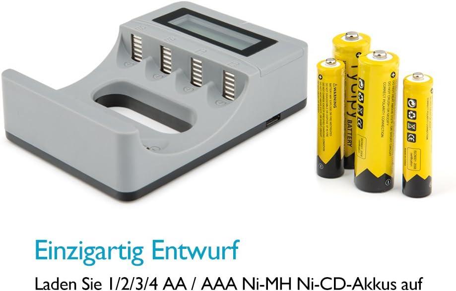 Caricabatterie a 4 Slot con Display LCD Tycipy USB per Ni-MH Ni-CD AA AAA Batte