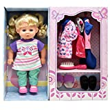Doll With Clothes Set, Baby Doll with 4 Complete Outfits and Accessories, Hair Brush, Shoes, Slippers,