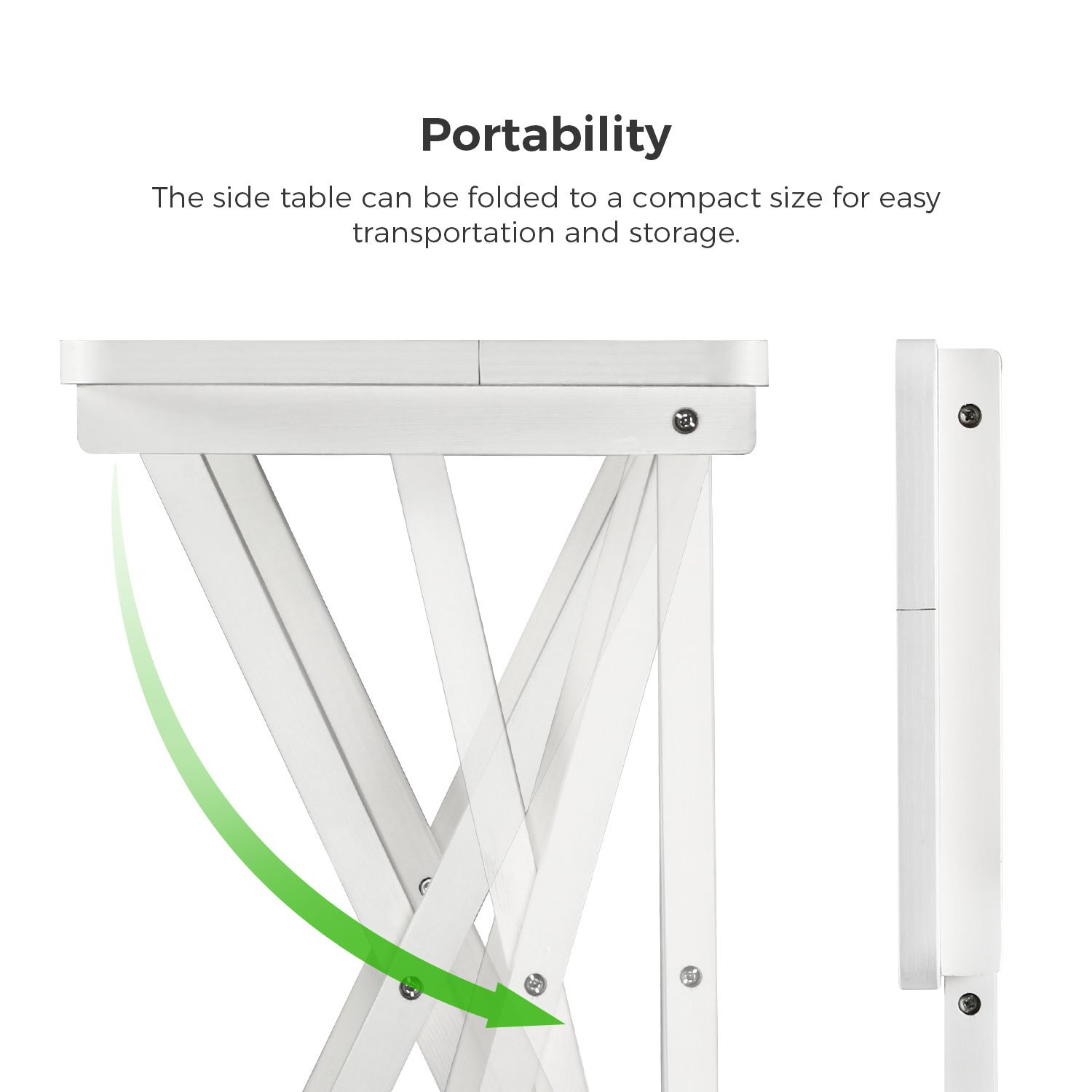 Lifewit Folding Wood TV Tray, Solid Portable Foldable Snack Table Side Table Sofa Table,White by Lifewit (Image #5)