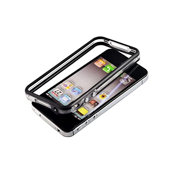 sports shoes 986b1 577d1 Clear & Black Bumper Frame Case with Metal Buttons for Apple iPhone  4S,iPhone 4