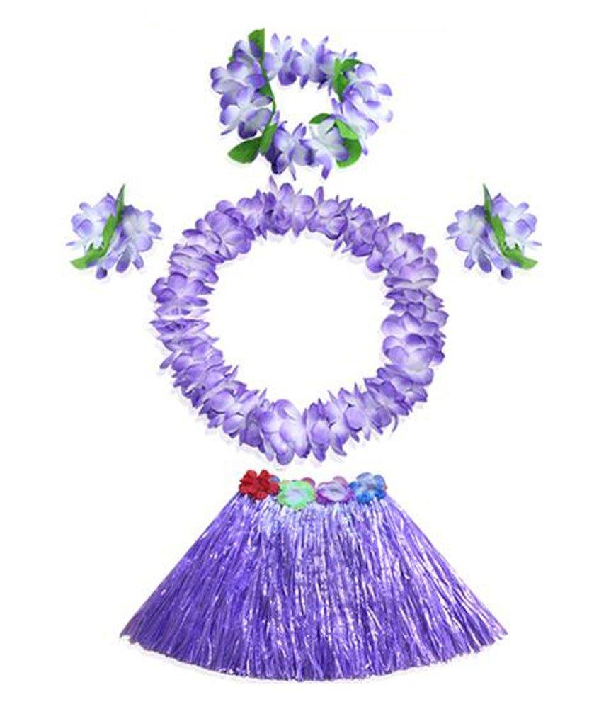 Hierba elástico de la falda hawaiana del bailarín de Hula del cabrito con la flor Conjunto de vestuario Black Temptation