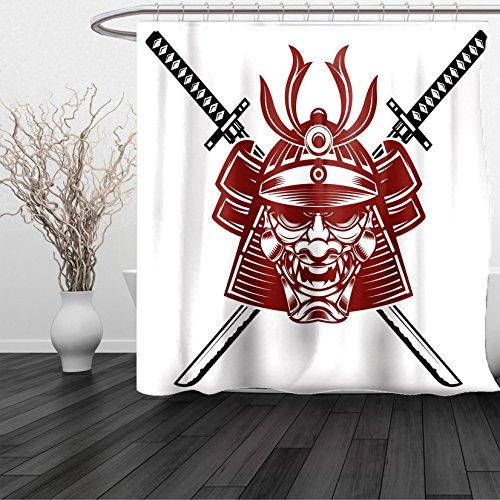 HAIXIA Shower Curtain Kabuki Samurai Face with Crossed Swords Ancient Knight Helmet Burgundy Black White