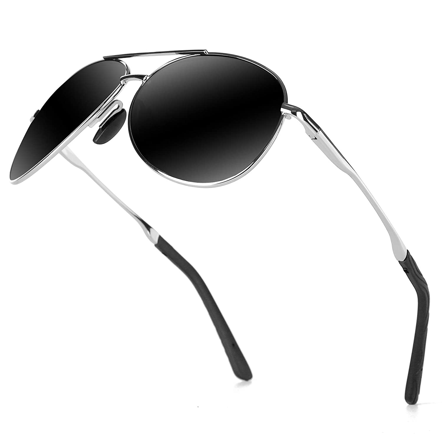 Black Silver Polarized Aviator Sunglasses for Men  goudi Metal Frame driving UV 400 Predection Mens Women Mirror Sunglasses 8002