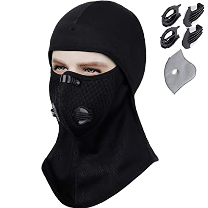 Balaclava – Activated Carbon Dust Dustproof   Windproof Masks - Cold Weather  Face Mask Extra Filter Cotton Sheet Valves Neck Warmer for Winter  Motorcycle 233c9ff83e6