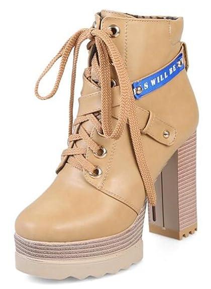 c8a2dd99446 IDIFU Women s Sexy Platform High Chunky Heels Lace Up Side Zipper Ankle  Boots