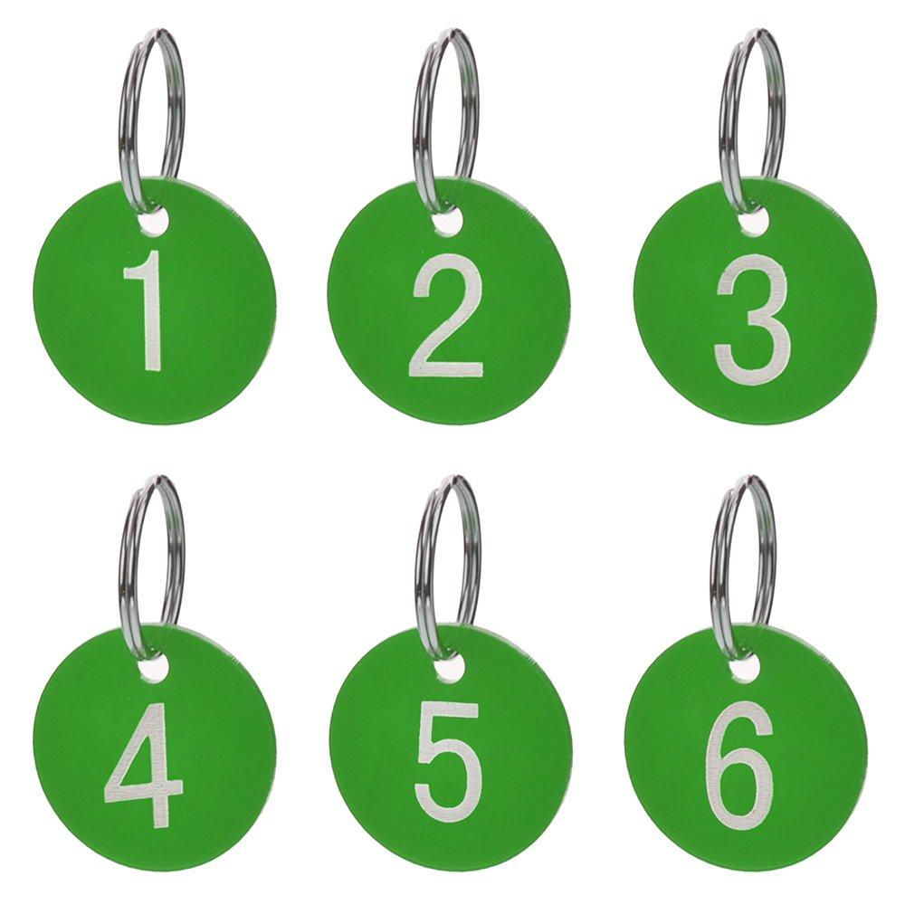 50/unidades acr/ílico Aspire Etiquetas numeradas con llavero color Black Round 1to50 para organizar y clasificar etiquetas de identificaci/ón