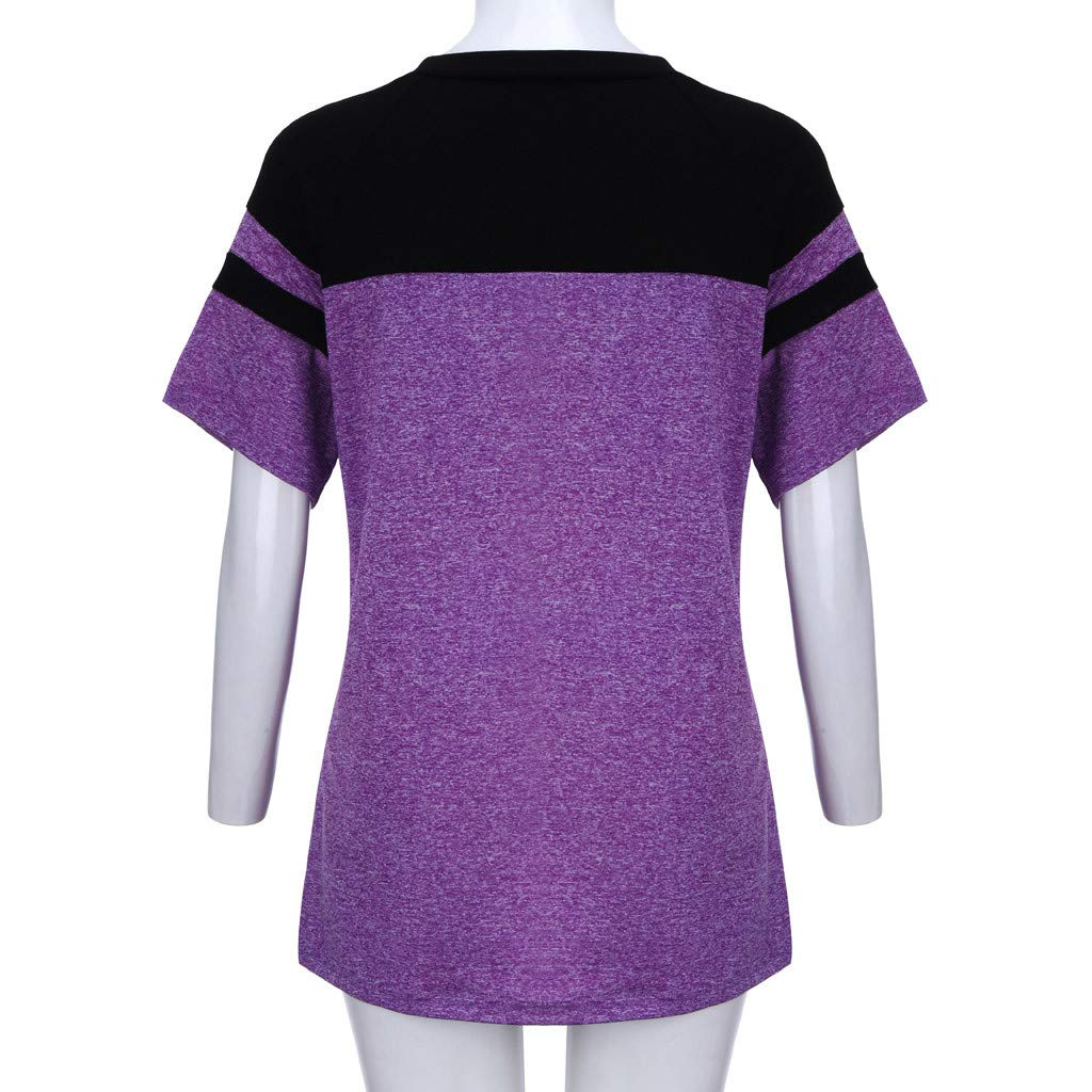 Short Sleeve Tee Blouse for Women,Amiley Women Patchwork Plus Size Short Sleeve Top Shirt Drawstring V Neck Casual Blouse (X-Large, Purple) by Amiley Womens Short Sleeve Tops (Image #5)