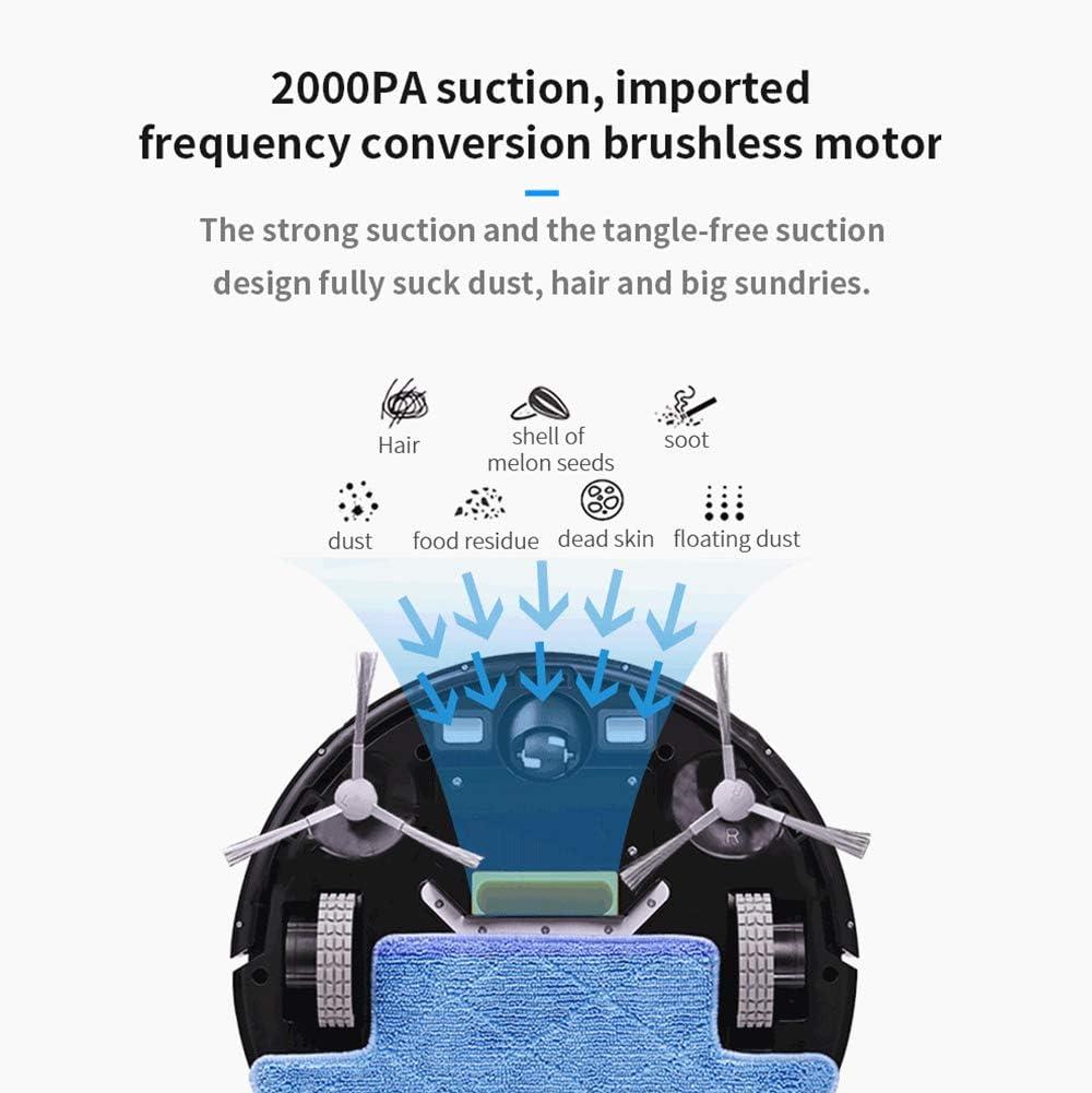 AWJ 3 en 1aspirateur Robot Laveur, 2000Pa Aspiration Forte, Contrôle APP, Moniteur à Distance Convient pour Les Poils d\'animaux Tapis durs Carrelage,Marron Brown