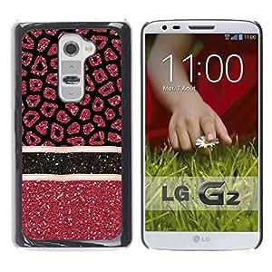 iKiki Tech / Estuche rígido - Pattern Glitter Red Stars Lines - LG G2 D800 D802 D802TA D803 VS980 LS980