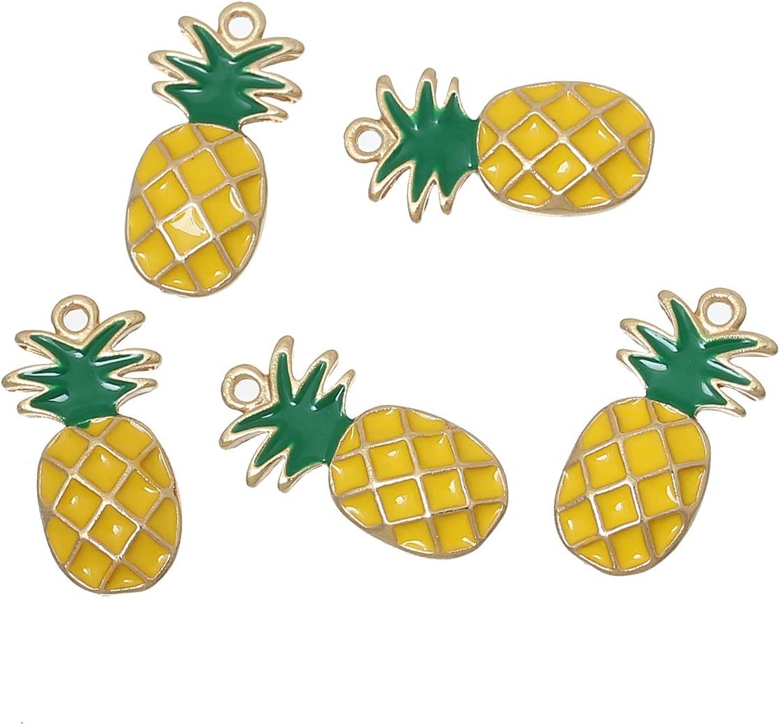"""PEPPERLONELY 10pc Plated Gold Alloy Pineapple Ananas Fruit Yellow & Green Enamel Charms Pendants 23x12mm (7/8"""" x 4/8"""")"""