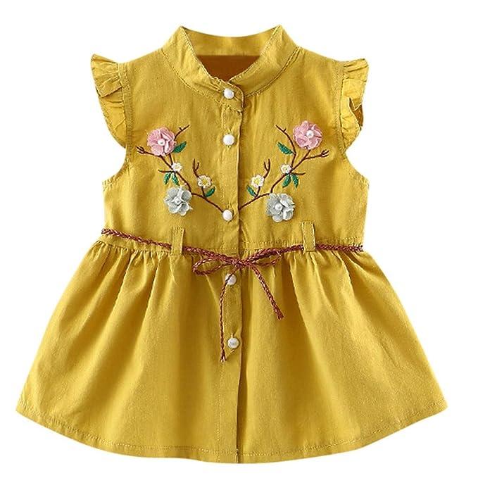 d52860555 Mitlfuny Verano Niñas Bebé Vestidos sin Manga Volantes Princesa Faldas  Floral Bordado Cinturón Botón Vestido Bautizo