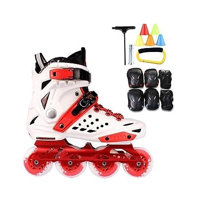 Sljj Inline Skates, Adult Single Row Skates Roller Skates Professional Men and Women Skates Full Set (White Red) (Color : Red+B, Size : 38 EU/6 US/5 UK/24cm JP): Home & Kitchen