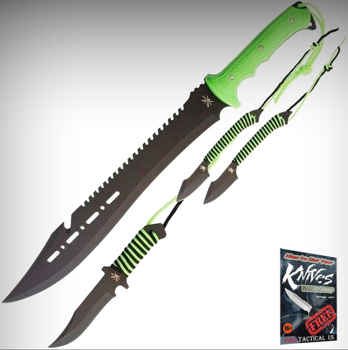 Frost TX100 Outdoor Limited Elite Knife Set (Machete, Bowie & 2 Throwing Knives) + free eBook by ProTactical'US