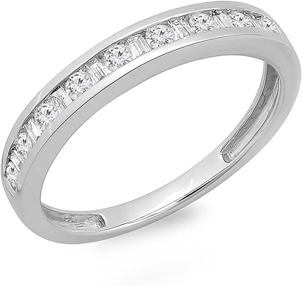 Dazzlingrock Collection 0.40 Carat (ctw) 14K Round & Baguette Cut Diamond Channel Set Wedding Stackable Band Ring, White Gold