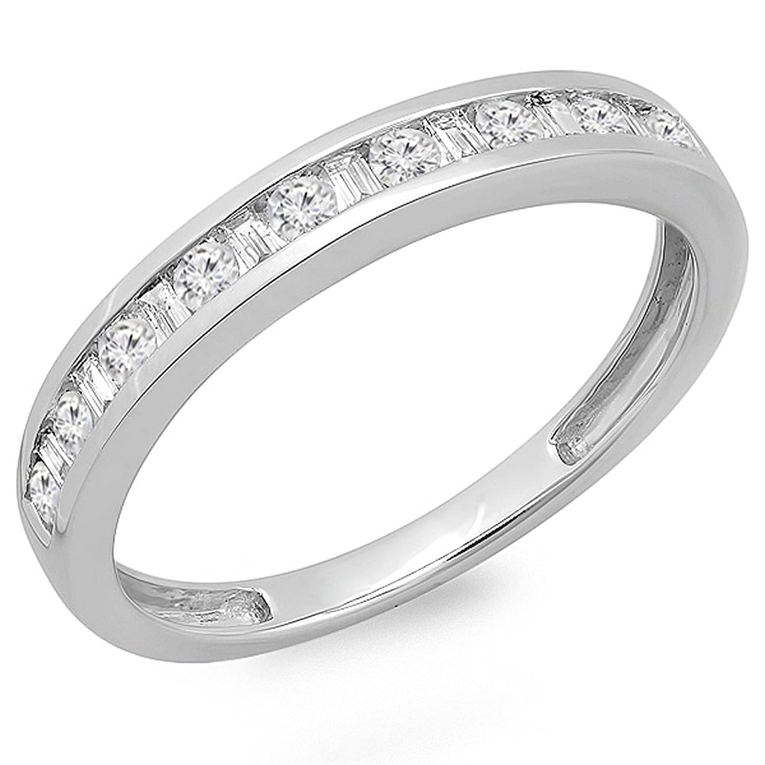 0.40 Carat (ctw) 14K White Gold Round & Baguette Cut Diamond Channel Set Wedding Stackable Band Ring