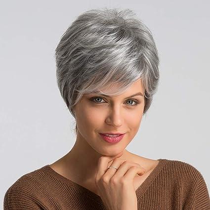 HAIRCUBE Peluca Cabello humano Pelucas para mujeres Pelucas grises ...