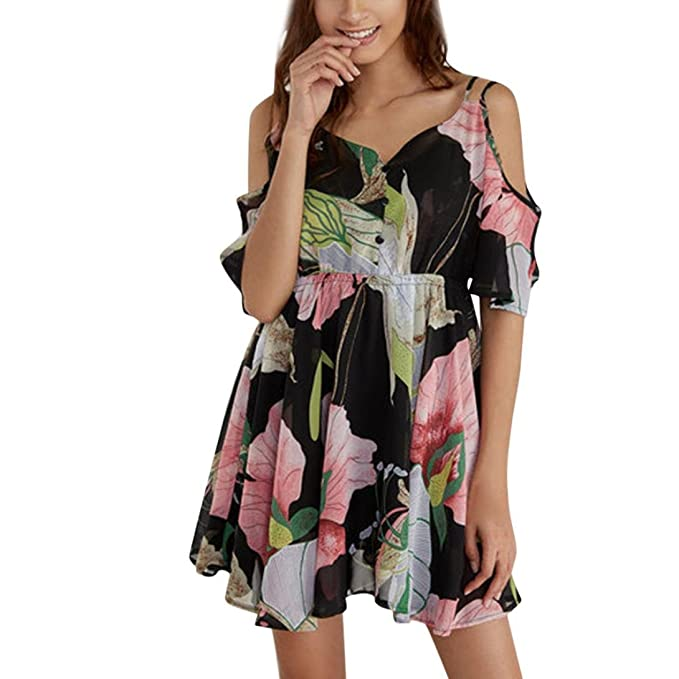 Amazon.com: Vestido de playa de flores, cicuta Mujer Vestido ...