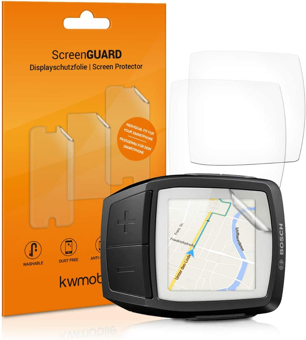 kwmobile 3X Screen Protectors for Bosch Purion Clear Anti-Scratch Screen Protector Pack for E-Bike Cycling Computer Display