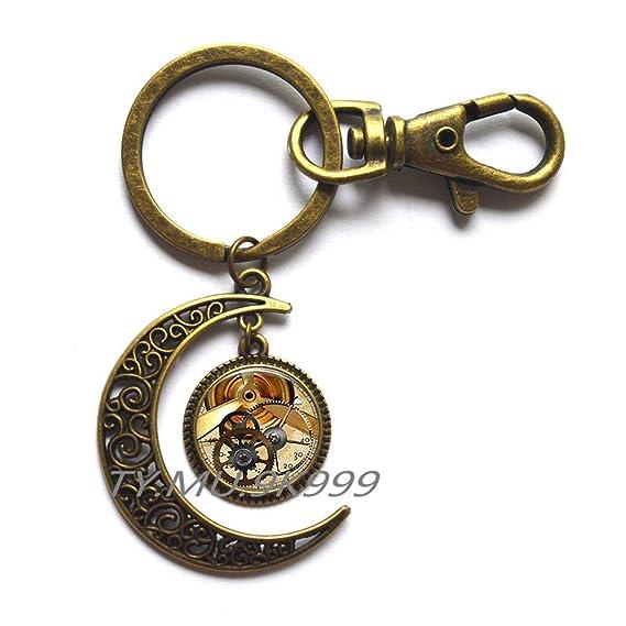 Amazon.com: Gears Moon llavero Gear Jewelry Steampunk ...