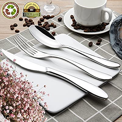 Silverware Set Flatware Cutlery Set 3 Stainless Steel Utensils Kitchen Dinnerware Include Knife Fork Spoon Sturdy Tableware Kitchenware Dinnerware Set with Gift Box Dishwasher Safe - ★【HIGH QUALITY, HEALTHY,STURDY SILVERWARE SET】 ----The Flatware set is made of premium high quality 304 stainless steel with perfect mirror polish surface. The Cutlery Set is including 3: Knife Fork and Spoon which is high Heat-resistant and rust-resistant.Also sturdy,thick,durable and healthy for daily use. ★【COMFORTABLE TO HOLD,EASY TO CLEAN AND DISHWASHER SAFE】----Stainless Steel Utensils have the Smooth edge,no rough spots, proper gauge thickness and weight to hold comfortably. Cleaning up is a breeze, even hand wash or in the dishwasher and dishwasher very safe,will not be scratched.Extremly a good choice for the knife cutlery set. ★【CAN USE IN ANY OCCASION,ALSO IS A GOOD GIFT CHOICE】---Perfect for family daily use /hotel /gathering /parties /camping /good gift choice of the flatware cutlery set. - kitchen-tabletop, kitchen-dining-room, flatware - 61V8phgEQ0L. SS400  -