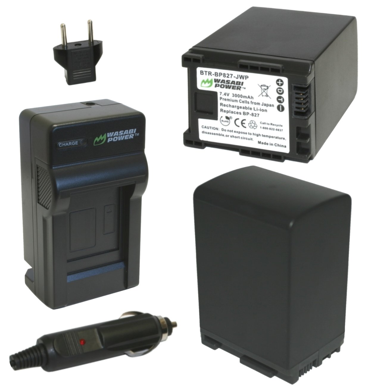 Wasabi Power Battery (2-Pack) and Charger for Canon BP-827 and Canon VIXIA HF20, HF21, HF200, HF G10, HF G20, HF M30, HF M31, HF M32, HF M40, HF M41, HF M300, HF M400, HF S10, HF S11, HF S20, HF S21, HF S30, HF S100, HF S200, HG20, HG21, XA10 by Wasabi Power
