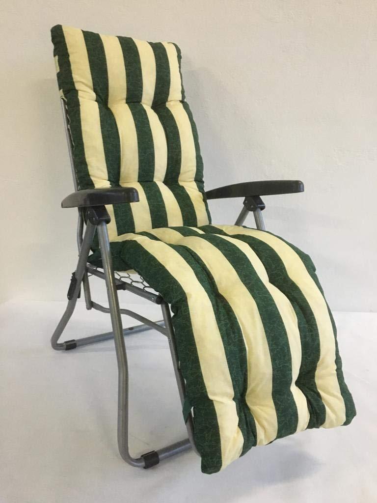 Cojín de repuesto para tumbona con reposapiés superacolchado, color verde