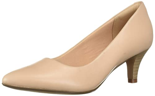 CLARKS Women's Linvale Jerica Pump, Blush Leather, 090 M US best comfortable dressy heels