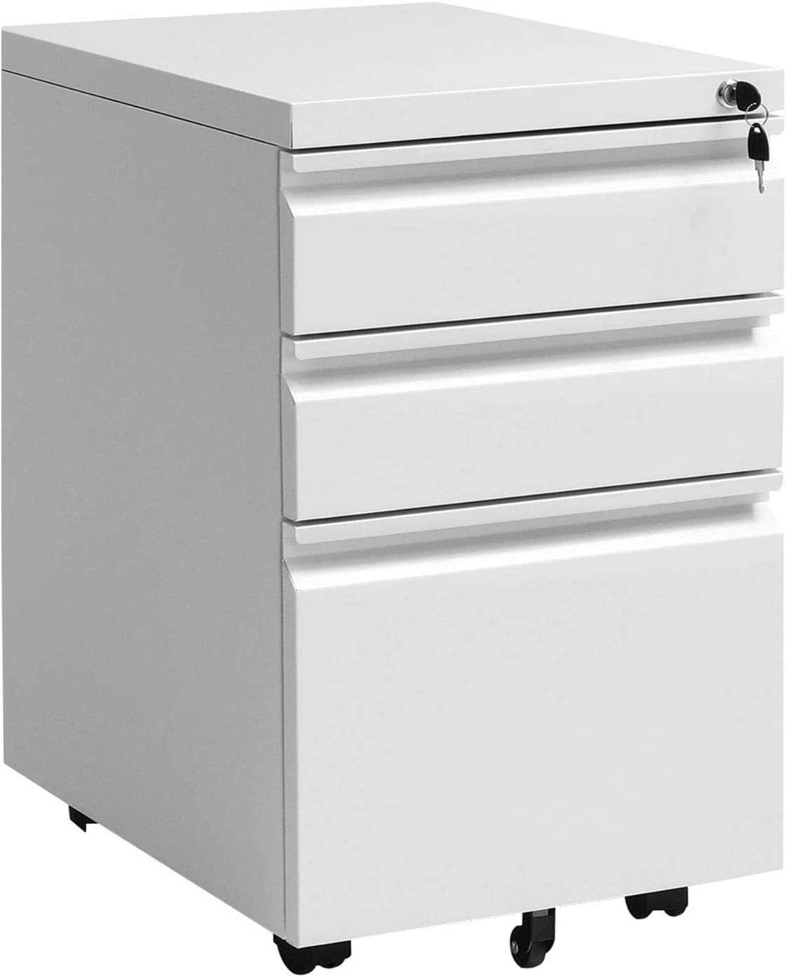 Amazon Com Superday White Small File Cabinet Metal 3 Drawer File Cabinet With Lock Under Desk Lateral Cabinet Rolling Vertical File Cabinet For Home Office Fully Assembled Except Wheel Office Products