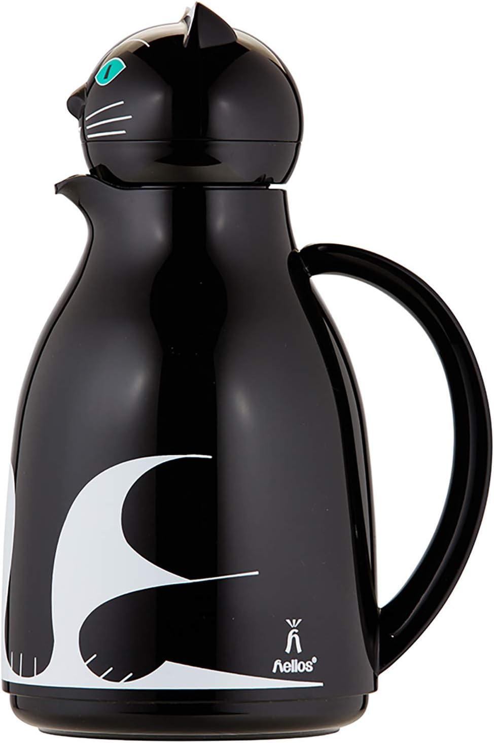 Negro Helios Thermo-Cat Jarra t/érmica de pl/ástico 1 Litro