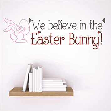Discounted sticker decal we believe in the easter bunny holiday decoration quote size