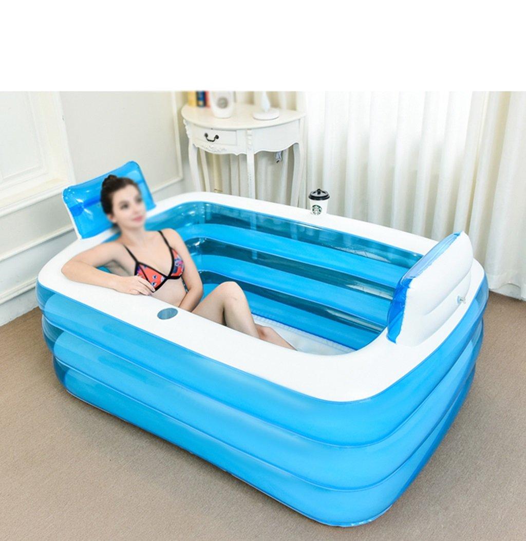 LPYMX,Gepolsterte Badewanne Aufblasbare Dicke Erwachsene faltende Plastikflasche Blau1.5m Badewanne