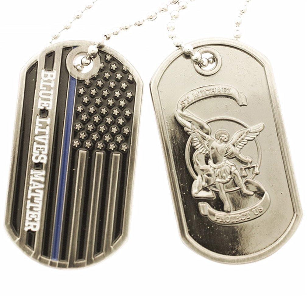 Amazon.com  Thin Blue Line Flag Blue Lives Matter and Saint Michael Dog Tag   Clothing c4744e85e27