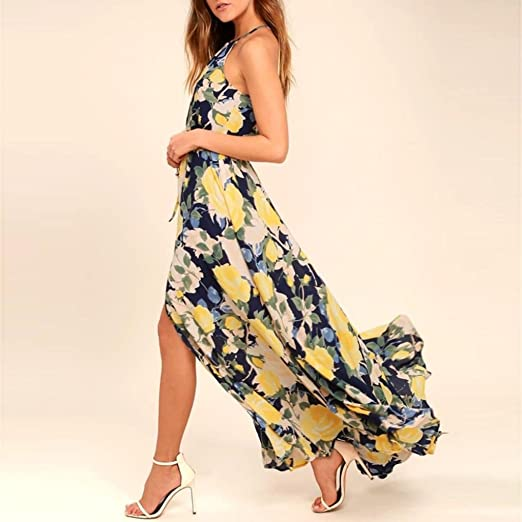 Long Dress, kaifongfu Women Sexy Floral Printed Adjustable Sleeveless Floral Dress Lace-up Split Maxi Long Dress at Amazon Womens Clothing store: