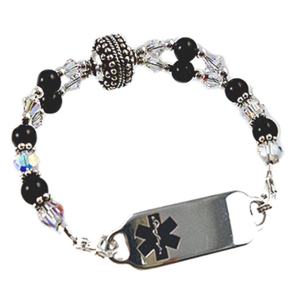Women's Medical Alert Manhattan Beaded Bracelet, Free Engraving