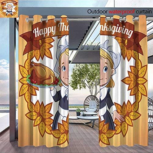 BlountDecor Outdoor Blackout Curtains Postcard Happy Thanksgiving Day Cute Indian Outdoor Privacy Porch Curtains W72 x L84/Pair
