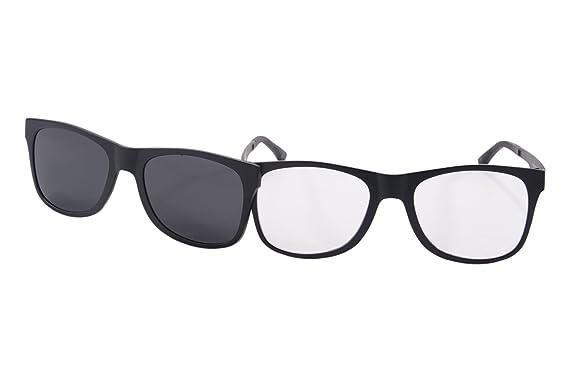 8655710a89b SHINU Clear Lens Eyeglasses Frames Polarized Magnetic Clip on Wayfarers  Sunglasses - P006(black)