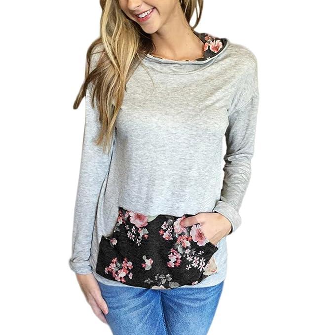 OverDose Las mujeres impresas florales con capucha del bolsillo sudadera Tops blusa de la camisa (