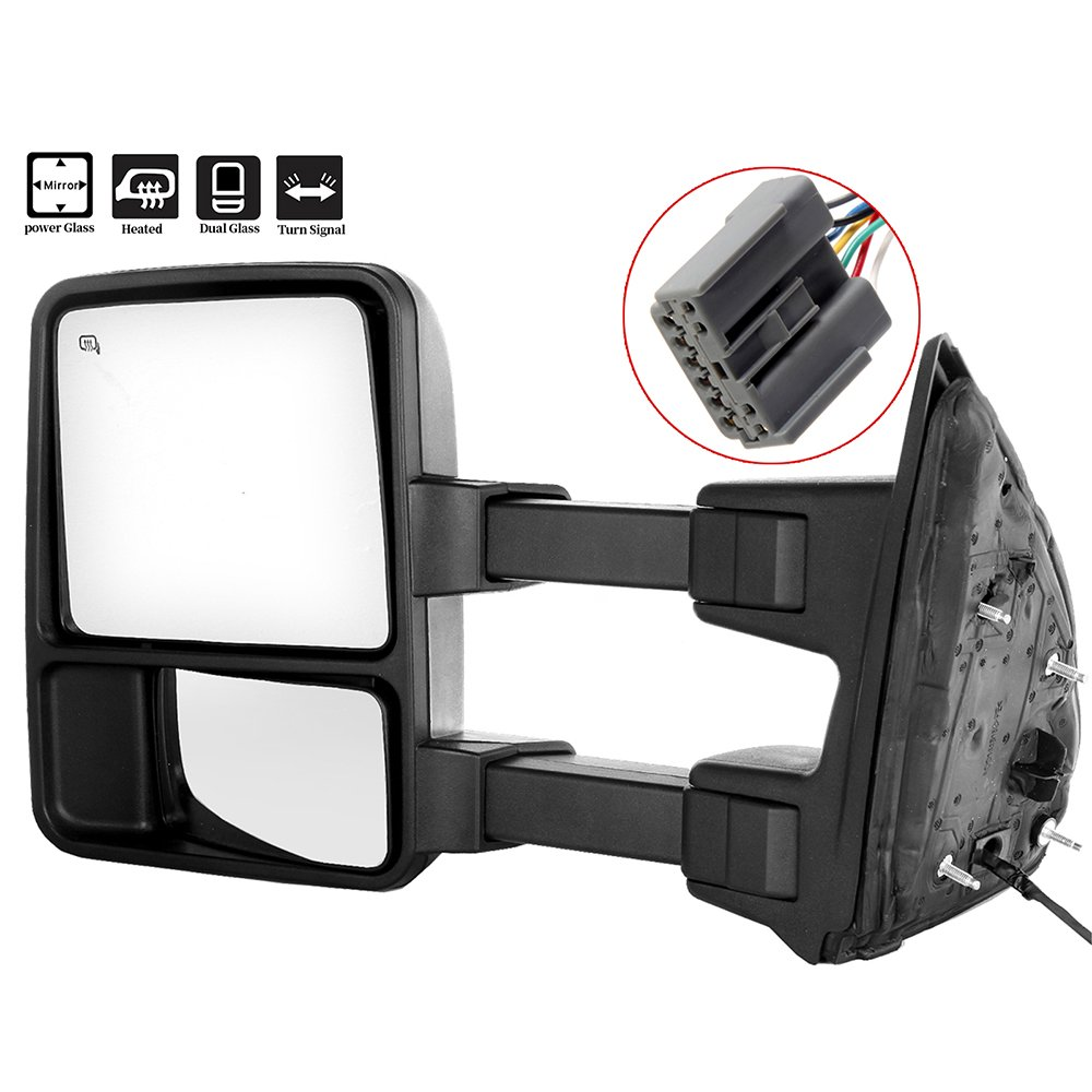 SCITOO Side Mirrors, Towing Mirrors fit Ford Super Duty Automotive Exterior Mirrors fit 1999-2002 F250 F350 F450 F550 Super Duty Power Adjusted Heated Manual Telescoping Features No Signal 050382-5206-1612188