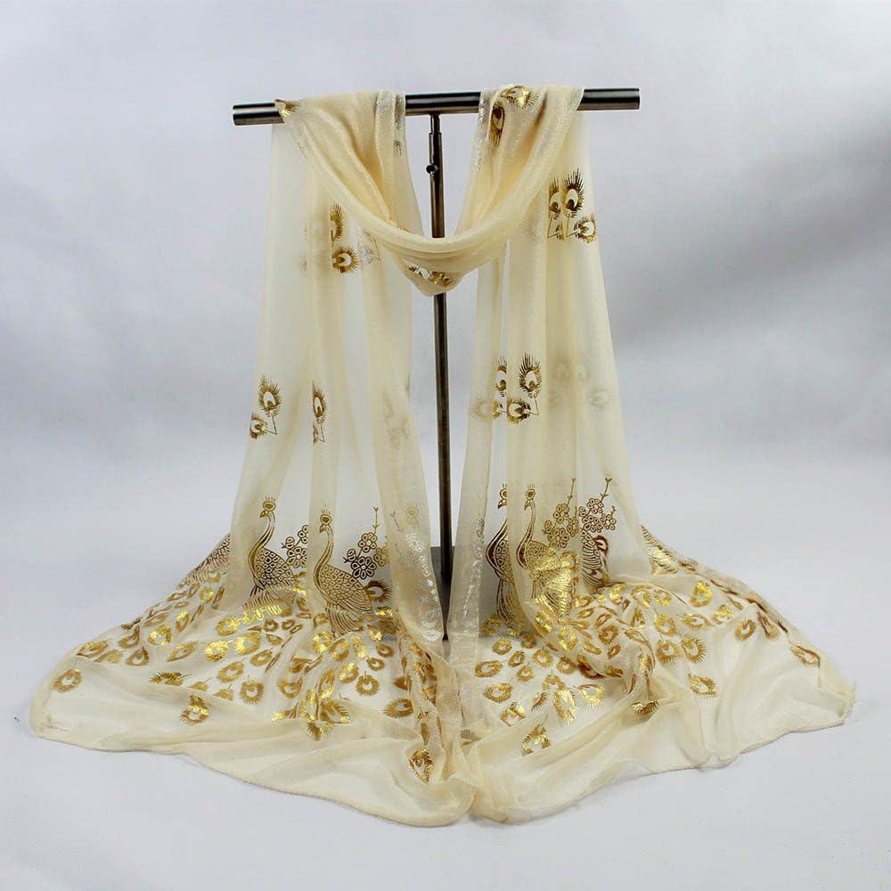 Chales Mujer Mant/ón para Vestido de Noche Pashminas Fulares para Fiesta Estampado Playa FossenMA Bufandas de Mujer Originales de Gasa de Bordado de Pavo Real
