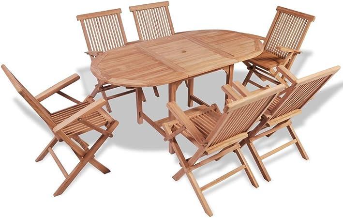 Tavolo Giardino Teak Pieghevole.Vidaxl Set Da Esterno Giardino Pranzo Pieghevole Tavolo 6 Sedie In