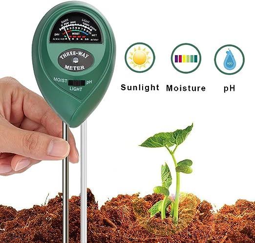 Haixin Medidor de Humedad 3 en 1 para Plantas y Suelos con PH, luz y Prueba de acidez de la Humedad, Ideal para jardín, Granja, césped, Interior y Exterior (no Necesita Pilas):
