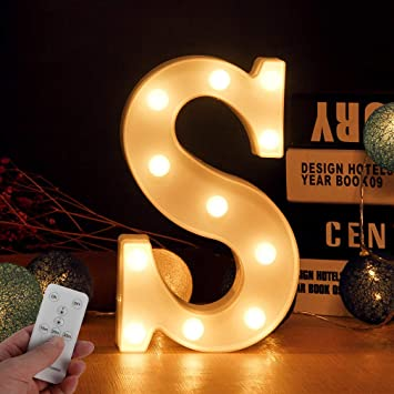 Light Up Letters For Wall Decor Led Letter Lights Alphabet Light Up Letter Sign With Remote Control For Switch Timer Dimmable For Bedroom Wedding Party Birthday Home Bar Decoration Letter S Amazon Com